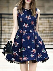 Navy Crew Neck Print A-Line Dress