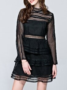 Black Crochet Hollow Out A-Line Dress