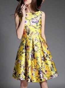 Yellow Crew Neck Animals Floral A-Line Dress