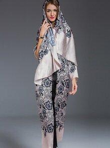 Apricot Scarf Elegance Print Maxi Dress