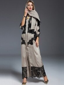 Apricot Scarf Contrast Lace Maxi Dress