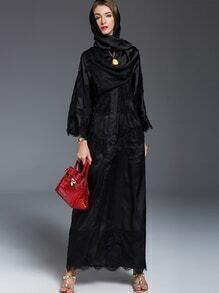 Black Scarf Contrast Lace Maxi Dress