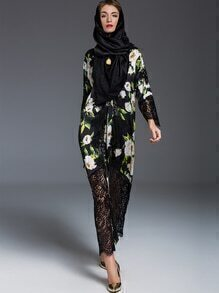 Black Contrast Lace Print Maxi Dress