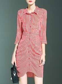 Red White Striped Lapel Asymmetric Dress