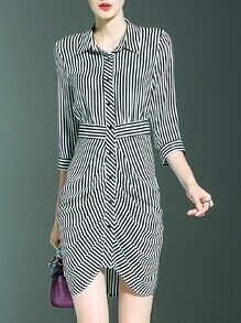 Black White Striped Lapel Asymmetric Dress