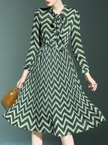 Green Tie Neck Belted Chevron Pleated A-Line Dress