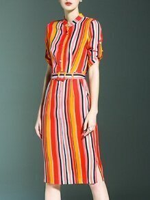 Multicolor Striped Belted Pockets Split Sheath Dress