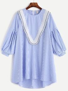 Vertical Striped Lantern Sleeve Dip Hem Pleated Trim Dress