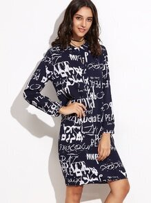 Navy Letters Print Half Placket Chiffon Shirt Dress