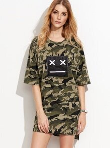 Camo Print High Low Emoji Patch Slit Tee Dress