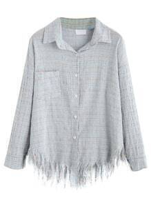Light Blue Drop Shoulder Raw Hem Grid Shirt