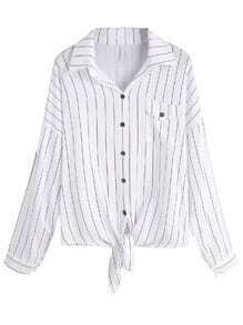 Vertical Striped Dropped Shoulder Seam Knot Front Pocket Blouse