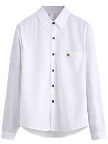 White Bull Embroidered Pocket Shirt