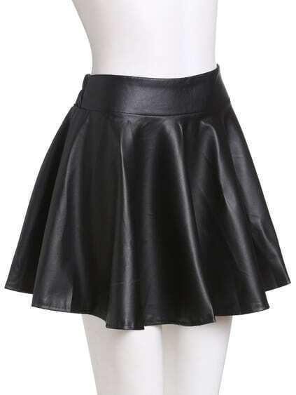 Black Faux Leather Elastic Waist Flare Skirt