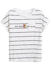 White Letters Print Striped T-shirt
