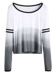 Ombre Contrast Trim Striped Sleeve Scoop Neck T-shirt