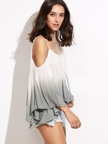 Ombre Cold Shoulder Lace Up Fringe T-shirt