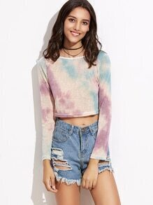 Tie Dye Crop Knit T-shirt