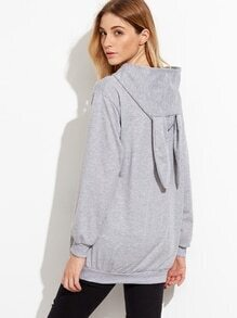 Grey Letter Embroidered Rabbit Ear Hoodie Sweatshirt