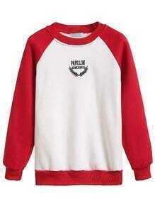 Color Block Raglan Sleeve Embroidered Sweatshirt