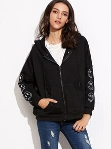 Black Drop Shoulder Emoji Embroidered Hooded Zip Up Sweatshirt