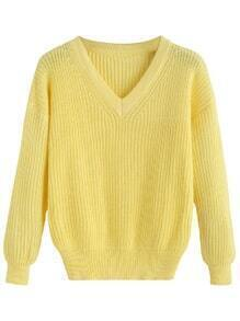 Yellow V Neck Drop Shoulder Sweater