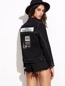 Black Letter Print Back Denim Jacket With Stitch Detail