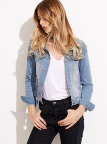 Blue Bleached Studded Denim Jacket
