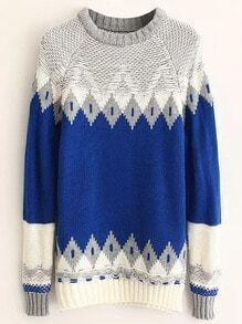 Blue Geometric Pattern Ribbed Trim Sweater