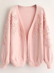 Pink Textured Drop Shoulder Lantern Sleeve Sweater Coat