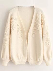 Ivory Textured Drop Shoulder Lantern Sleeve Sweater Coat
