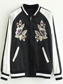 Black Striped Trim Flower Embroidery Bomber Jacket With Zipper