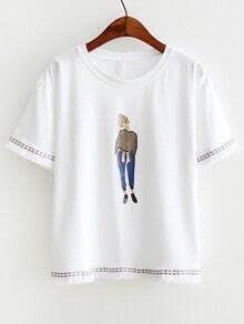 White Girl Print Embroidery Fringe Trim T-Shirt