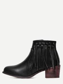 Black PU Tassel Cork Heeled Ankle Boots