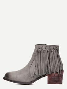 Grey PU Tassel Cork Heeled Ankle Boots