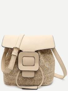 Beige Straw Saddle Bag