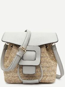 Grey Straw Saddle Bag