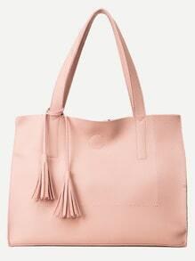Pink Pebbled PU Fringe Tote Bag