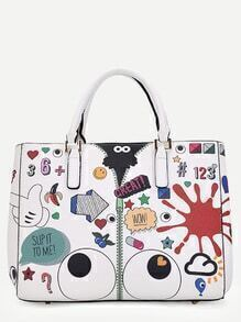 White PU Cartoon Print Tote Bag With Clutch