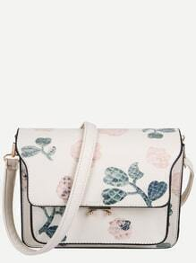 White PU Floral Print Flap Shoulder Bag
