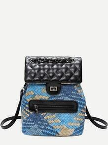 Blue PU Front Zipper Woven Backpack