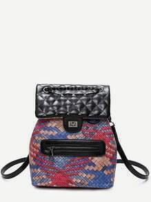 Red PU Front Zipper Woven Backpack