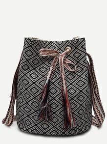 Black Meande Pattern Canvas Bucket Bag