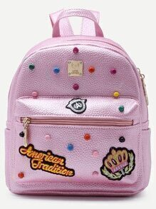 Pink Pebbled PU Front Zipper Studded Backpack