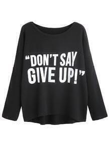 Black Slogan Print Drop Shoulder T-shirt