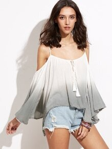 Ombre Lace Up Open Shoulder T-shirt With Hem Tassels