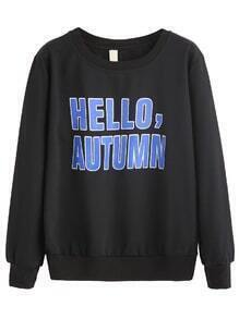 Black Letters Print Drop Shoulder Sweatshirt