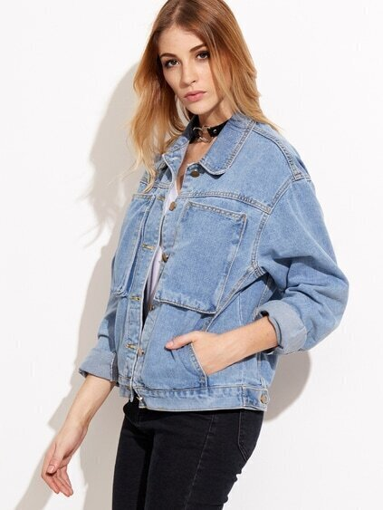 Stonewash Blue Denim Jacket With Pockets