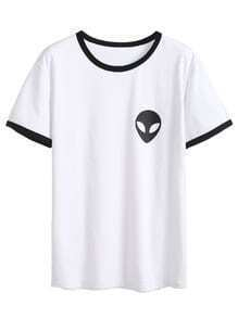 White Alien Print Contrast Trim T-shirt