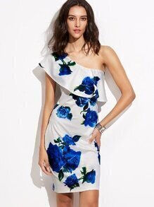 White Floral One Shoulder Ruffle Sheath Dress